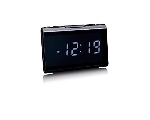 Lenco CR-525 Radiowecker - FM Digital Wecker - FM Radio Empfänger - Mit Sleeptimer und Schlummerfunktion - USB und FM Alarmfunktion - USB Ladeanschluss - Displaydimmer - Schwarz