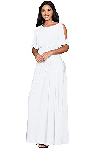 Vestido longo KOH KOH KOH feminino com mangas divididas e elegante para coquetel, Branco, Medium