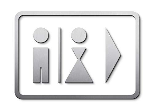 PHOS Edelstahl Design, P0203S, WC Piktogramm Herren Trennstrich Damen Pfeil nach rechts oder links mit Soft-Edge-Rahmen, Edelstahl gebürstet, 17,5 x25 cm, selbstklebend, Türschild, Toilette, Wegweiser