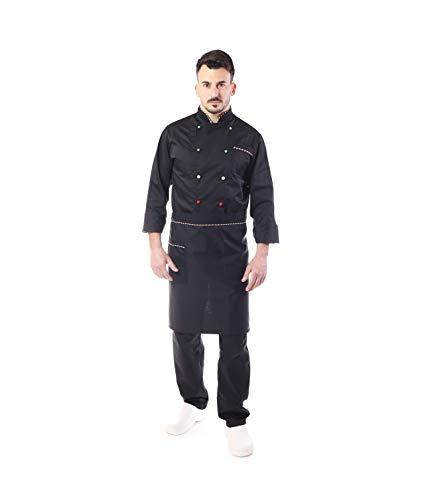 Completo Cuoco - Nero Italia - Divisa Chef - per Uomo - 4 PZ - Giacca Pantalone Davantino Bandana - Ricamo Gratuito - per Cucina e Ristorante Made in Italy (Large)