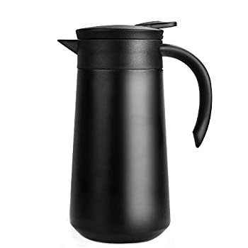 28oz Coffee Carafe Airpot Insulated Coffee Thermos Urn Stainless Steel Vacuum Thermal Pot Flask for Coffee Hot Water Tea Hot Beverage - Keep 9 Hours Hot 18 Hours Cold  Black