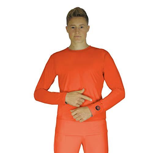 Glovii GJ1R Akku Beheiztes Thermisches Langärmeliges Hemd, Größen S-XL, Orange, Akku Enthalten (XL)