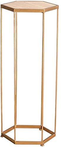 YHtech Nordic Forjado Soporte de la Planta de Hierro Tipo de Suelo estantería Maceta de Flores Verde del rábano repisa/bahía (Color: Oro, tamaño: 85 cm) para la decoración del jardín del hogar.