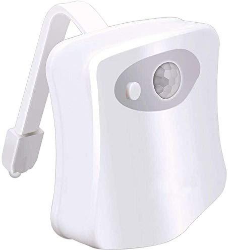 UTECH WC luz nocturna led, luz de noche con sensor de movimiento, 8 colores con deteccion de movimiento, funciona con pilas, luz inodoro nocturna