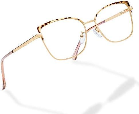 Blue Light Blocking Glasses for Women Cat Eyes Fashion Metal Frame Anti Eyestrain Eyeglasses product image