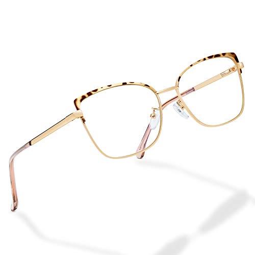 Blue-Light-Blocking-Glasses for Women Cat Eyes-Fashion Metal Frame Anti Eyestrain Eyeglasses