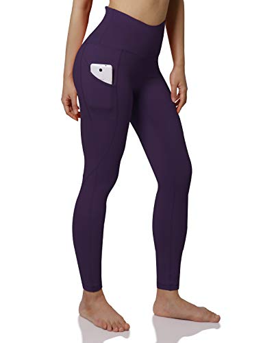 ODODOS Women's High Waist Yoga Pants with Pockets,Tummy Control,Workout Pants Running 4 Way Stretch Yoga Leggings with Pockets,DeepPurple,XX-Large