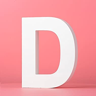 5.9 (L) x4.7 (H) x0.8 (W) 12x12x2cm Large Wall Letters Marquee Alphabet D Wood Wooden Number DIY Block Words Sign Hanging Decor Letter for Home Bedroom Office Wedding Party Decor White