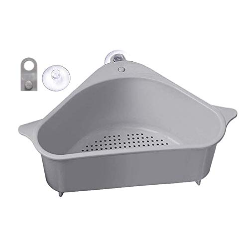 Chamtlnr Triangular Sink Drain Basket-Kitchen Sucker Storage Holder-Sink Sponge Holder for Kitchen Bathroom Support Corner Gray