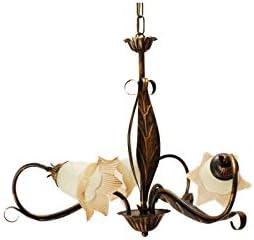 Ilab - Lámpara de techo de 3 luces, de hierro forjado, incluye 3 bombillas E14 con casquillo pequeño máx. 40 W, diámetro: 63 cm, altura mínima: 57 cm, altura máxima: 107 cm ajustable