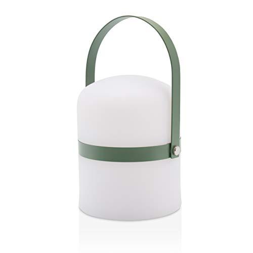 LUUK LIFESTYLE Kleine skandinavische Design Tischleuchte, LED Outdoor Gartenlampe, Laterne, Lampe, LED Leuchte, Terrasse, Laterne drinnen, draußen, dimmbar, wiederaufladbar, USB Anschluss, grün matt