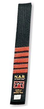M.A.R International Ltd. MAR Negro con nivel 5 Dan -MAR Artes Marciales Karate/Judo/Taewondo/Jujitsu Block - Cinturón de clasificación a rayas - Tela de polialgodón, 250 - 320 cm