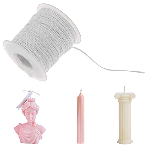 Abnaok - Mecha de vela para hacer velas, mecha plana, mecha redonda de lámpara bobina, mecha de vela de algodón trenzado, 61 m en un rollo para bricolaje, bujía