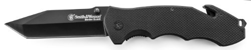 Smith and Wesson SWBG6T Border Guard 5 Liner Lock Black Tanto Blade Knife