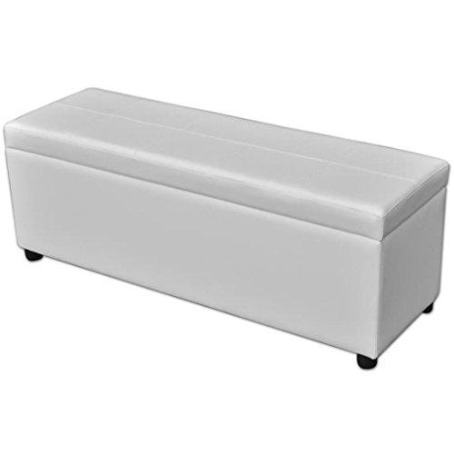 Tidyard Banc de Stockage | Coffre de Rangement | Banc de Rangement en Bois Blanc 118 x 38 x 45 cm