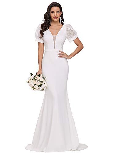 Ever-Pretty Women's Deep V Neck Short Sleeve Bodycon Memaid Lace Long Wedding Dresses with Chapel Train White 8UK