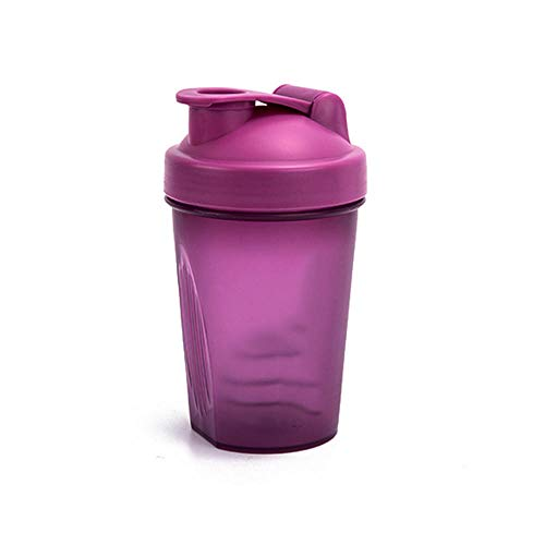 Huakaimaoyi Juego de 3 Botellas Agitadoras, Botella de Batido ProteíNas con Bola Mezcladora, 100% Libre de Bpa, FáCil de Limpiar, Ideal para Batidos de ProteíNas, Batidos y MáS, 400 Ml-púrpura