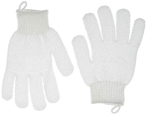 QVS - Guantes exfoliantes para baño, color blanco