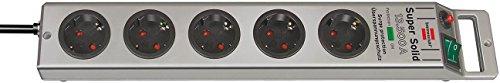 Preisvergleich Produktbild 2er Set: Brennenstuhl Super-Solid Überspannungsschutz-Steckdosenleiste 5-fach silber mit Schalter,  1153340315