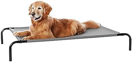 AmazonBasics – Podwyższone łóżko dla zwierząt domowych o działaniu chłodzącym, rozm. L, 130 x 80 x 19 cm, szare