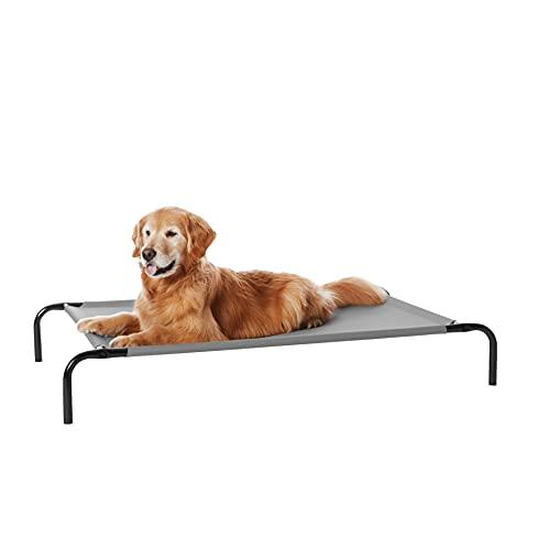 Amazon Basics - Cama elevada transpirable para mascotas, grande ( 130 x 80 x 19 cm), gris