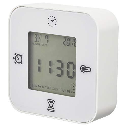 Reloj/Termómetro/Alarma/Temporizador, Blanco, Tamaño del producto: Ancho: 7 cm Profundidad: 3 cm Altura: 7 cm, Materiales: Marco: Plástico ABS, Protección Delantera: Plástico Poli-Carbonato