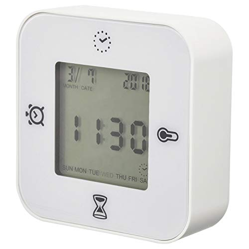 Uhr/Thermometer/Alarm/Timer, weiß, Produktmaße: Breite: 7 cm, Tiefe: 3 cm, Höhe: 7 cm, Material: Gestell: ABS-Kunststoff, Frontschutz: Polycarbonat-Kunststoff