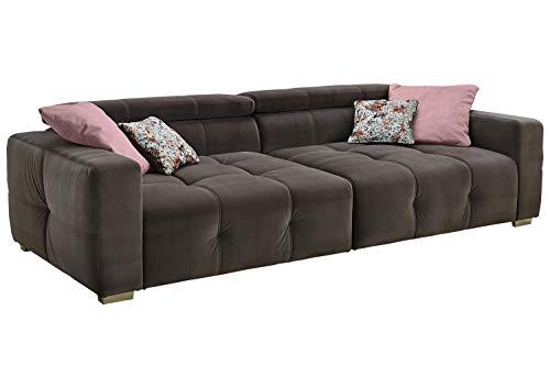 Big-Sofa XXL-Couch Wohnlandschaft | Microfaser | Grau | Kopfteilverstellung | BxHxT: 289x95x123 cm