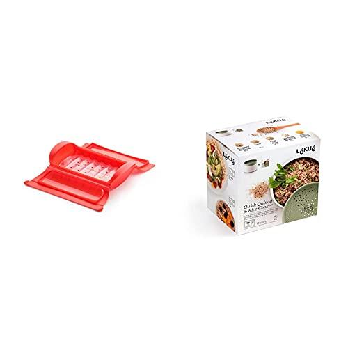 Lékué Estuche de vapor con bandeja, 1-2 personas, color rojo + Recipiente para cocinar Quinoa, Arroces y Cereales, 1 Litro