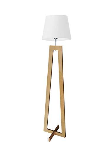 Kos - Lámpara de pie de madera, color blanco y madera de roble