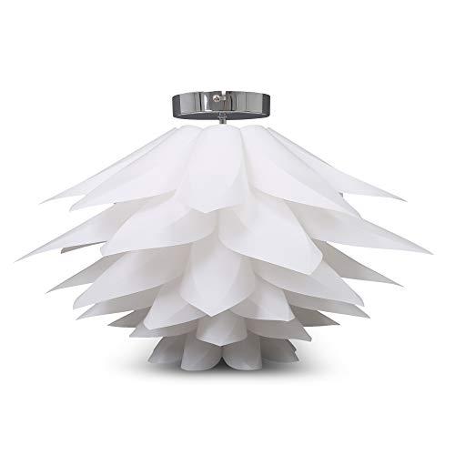B.K.Licht I Deckenleuchte I E27 I Ø51x33cm I Deko-Lampe I DIY Puzzlelampe I Blütenlampe I Lotuslampe I Weiß I Deckenlampe I Kinderzimmer-Leuchte I max. 60W I I IP20 I Ohne Leuchtmittel