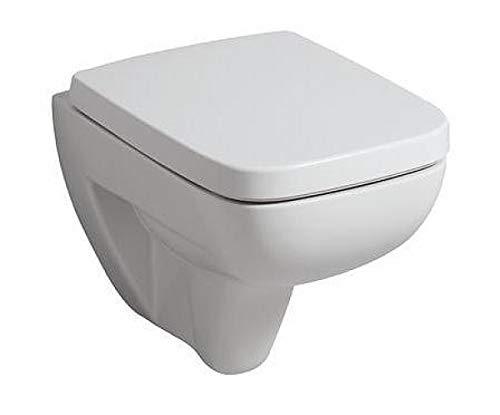 Toilettendeckel / WC – Sitz Renova Nr. 1 Plan | mit Deckel, Scharniere aus Edelstahl, ohne Absenkautomatik | Material: Duroplast, Form: gerade Deckelform, Breite: 367 mm, Tiefe: 447 mm