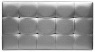 Ventadecolchones - Cabecero de Cama Tapizado Acolchado de Dormitorio en Polipiel con capitoné Modelo Tablet Plata y Medidas 151 x 70 cm para Camas de 135 ó 150