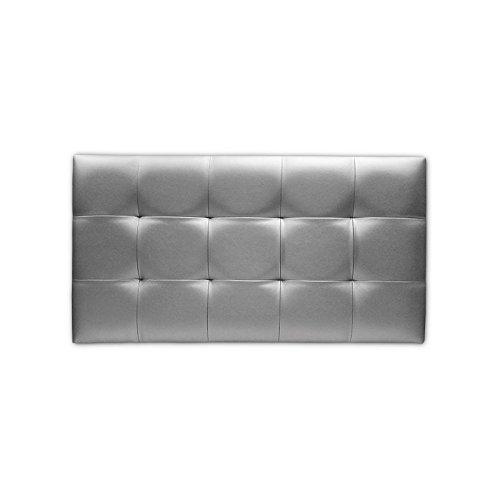 Ventadecolchones - Cabecero de Cama Tapizado Acolchado de Dormitorio en Polipiel con capitoné Modelo Tablet Plata y Medidas 136 x 70 cm para Camas de 120 ó 135