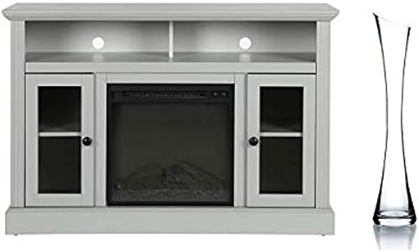 Ameriwood Home Chicago Electric Fireplace TV Console For TVs Up To A 50 With Vase Dove Grey