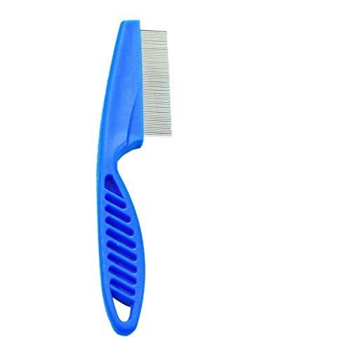 Frieed 1pcs Edelstahl-Hundehaar-Kamm Entfernt Flohkämme Zähne Haarbürste Hundepflege Pinsel Dauerhaft (Color : Blue, Size : L)