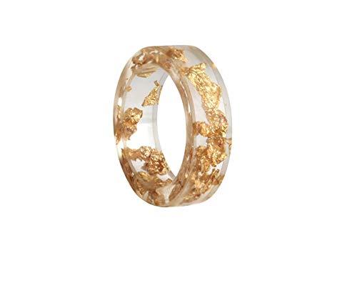 crintiff - Minimalistischer und schicker und transparenter Ring mit Pailletten aus Gelbgold, handgefertigt - Transparent und golden