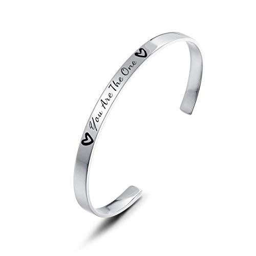 Brazalete Pulsera con Mensaje Grabado Personalizado para Mujer de Plata de Ley 925 Chapada Oro Blanco - You Are The One