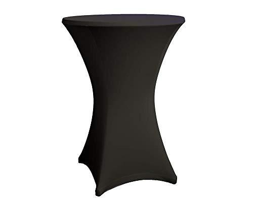 Expand Housse Pour Tables Hautes Noir - Couverture, Revêtement, Nappe Pour Tables Mange-Debout - Ø 60cm - Stretch