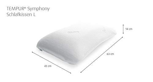 Tempur Symphony - Almohada ergonómica, cervical, para dormir de lado, Blanco, 43 x 63 x 14 cm