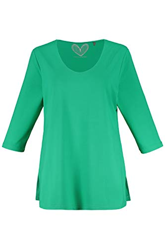 Ulla Popken Damen große Größen Basic Shirt, Viskose-Crepe, Rundhals, 3/4 Ärmel, Slim Fit mittelgrün 58/60 655820 41-58+