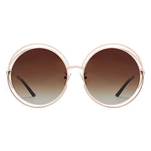 VIVIENFANG U86613 - Occhiali da sole rotondi polarizzati, montatura in acciaio inox di alta qualità Montatura dorata/lente marrone sfumato. L