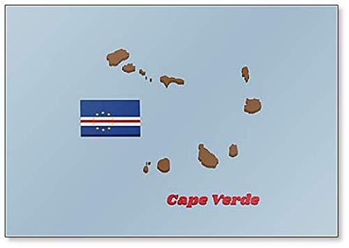 Kühlschrankmagnet, Motiv Karte & Flagge von Kap Verde