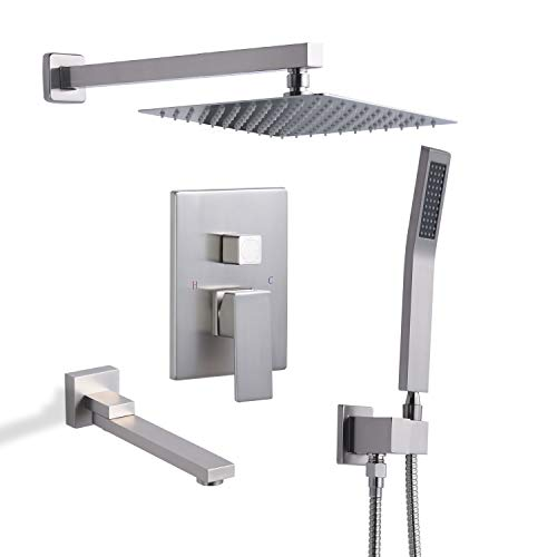 Find Discount DoBrass Shower System with Tub Spout, Waterfall Shower Faucet Set Complete with Pre-em...