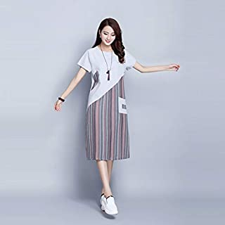 YIBEIANYU Summer Stripes Stitching Pocket Short-sleeved Round Neck And Long Sections Loose Cotton Dress