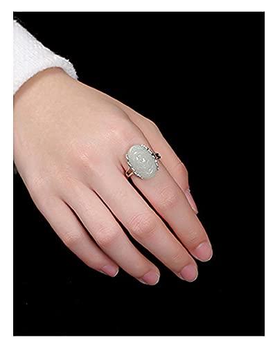 RXSHOUSH Pulsera de Anillo Conjuntos Pulseras para Mujeres 925 Silver Silver 6.8 Pulgadas Cadena de muñeca Hetiana Rosa Blanco Jade Día de Madres Día de Madres 2 Piezas Decla Ring