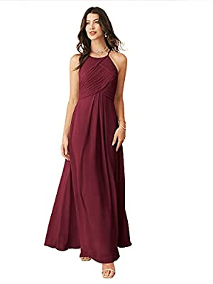 ALICEPUB Chiffon Burgundy Bridesmaid Dresses Long Formal Party Dress for Women Prom Evening Halter, US14