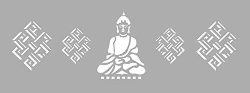 GRAINE CREATIVE 226043 Pochoir Décor 15 x 40 Bouddha, Plastique, Gris, 15,5 x 0,1 x 47,5 cm
