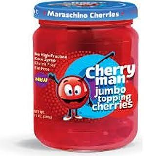 CherryMan Jumbo Topping Maraschino Cherries 12oz Jar (Pack of 3)