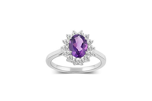 925 Sterling Silver 3/8 Cttw Diamond and Amethyst Engagement Ring Size 5.5 for Women -  Araiya Fine Jewelry, R03329(N)-AMT(5.5)